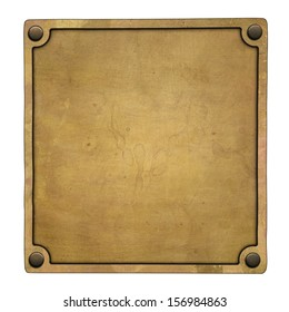 Old brass plate (clipping path)