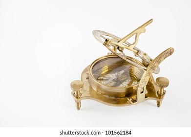 Old brass sextant. Measuring instrument for navigation isolated.