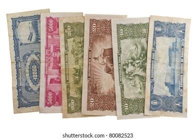 Old Brazilian money in paper.
