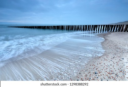 old breakwater on North sea coast, Vlissingen, Netherlands