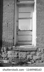 old brewery in Bozeman Montana before it was demolished black and white photo of old door