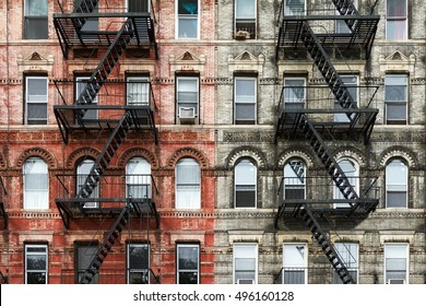Old Brick Apartment Buildings in the East Village of Manhattan, New York City