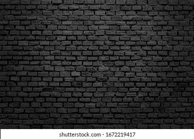 Old brick black color wall. Vintage background, black background, vintage marbled textured border