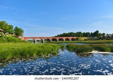 The Old Brick Bridge across the Venta river. Kuldiga, Latvia
