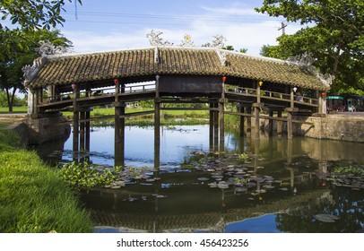 Old brick bridge Thanh Toan sightseeing in Hue, Vietnam