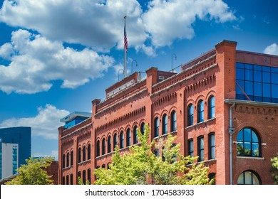 Old brick building by the Platte River in downtown Denver