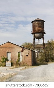 Old brick building and feed silo