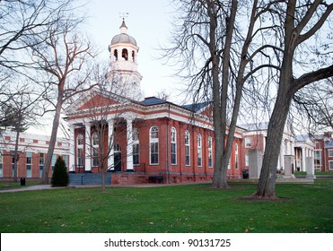 Old brick court house in Leesburg Virginia in the USA at dusk