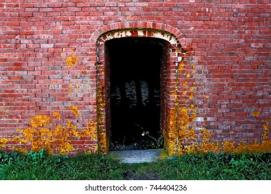 Old Brick Doorway with Yellow Moss and Green Grass Outside - Leading to a Dark Room