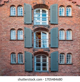 Old brick facade in the warehouse district of Hamburg