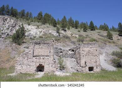 Old brick gold smelting furnaces at Last Chance Gulch near Helena, Montana.