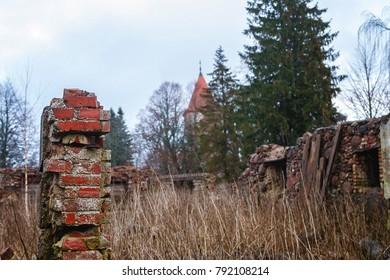 The old brick manor house Latvia.Siekstates