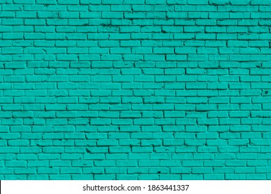 Old Brick painted green wall, can be used for background