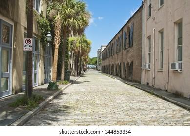 The old brick paved Mid Atlantic Wharf Street in Charleston, South Carolina.