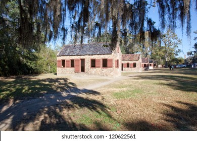 Old brick slave quarters, at Boon Hall Plantation, near Charleston, SC, USA