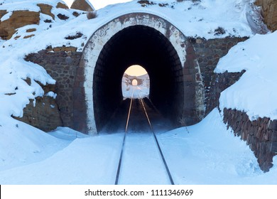 Old brick tunnels in the hills, railroad.