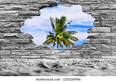 Old brick wall background with hole seen through the green landscape. Going out to nature