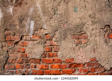 Old brick wall background.  Wrecked stones. Grunge style texture