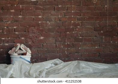 Old brick  wall at building . Texture of old brickwork. repair