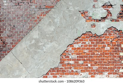 Old brick wall with concrete pieces