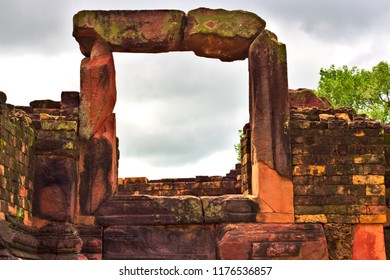 Old brick wall door made of brick at the ancient temple Ku Ka Sing in Thailand.