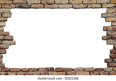 old brick wall frame isolated on white background