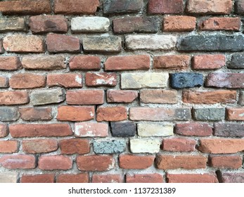 Old brick wall of Italian house, textured background