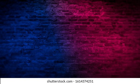 Old brick wall with neon lights. Neon shapes on brick wall background. Dark empty room with brick walls.