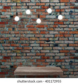 Old brick wall with wooden shelf and glowing light bulbs.3D rendering
