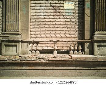 Old brick wall. Zaporozhye, Ukraine, 25 August 2018.
