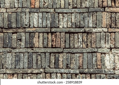Old bricks on the ground, texture background