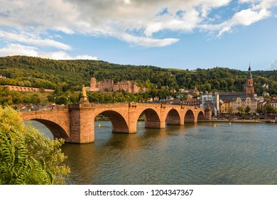 Old Bridge across Neckar river, ruins of the castle and the old town of Heidelberg, Germany