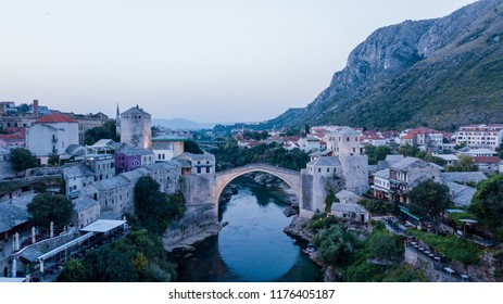Old Bridge Area of the Old City of Mostar, Bosnia and Herzegovina.   The bridge was included in the UNESCO World Heritage List in 2005.