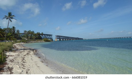 The old bridge at Bahia Honda State Park with beach and ocean