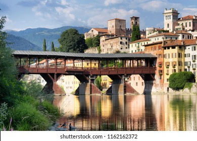 The Old Bridge in Bassano del Grappa, also called ponte degli Alpini, Italy.