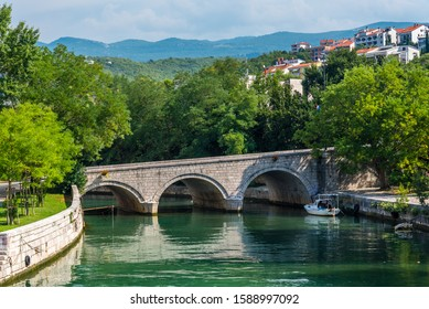 Old bridge in the centre of Crikvenica. Photography taken on a day. Crikvenica is a popular holiday resort in Kvarner riviera in Croatia