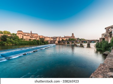 Old bridge crossing the Tarn River waters passing through Albi in Tarn region, Midi Pyrenees, France