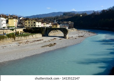 The Old bridge destroyed on the Piave river in Belluno
