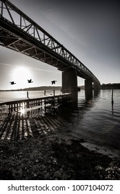 Old bridge and flying geese over Little Belt in Denmark. Monochrome piture.