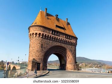 old bridge gate at river Main in Miltenberg, Germany