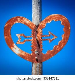 old bridge heart with an arrow sculpture landmark, location - Wellington, New Zealand