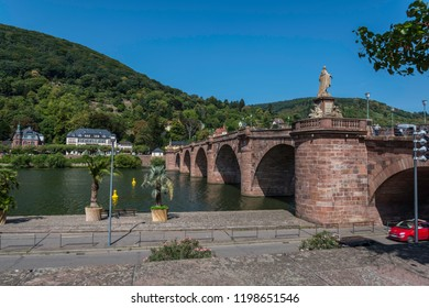 Old bridge of Heidelberg, gemany with the river Neckar shot in summer