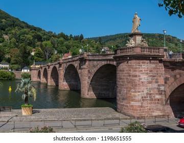 Old bridge of Heidelberg, gemany with the river Neckar shot in summer