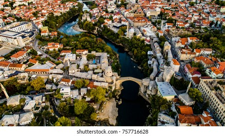 Old bridge in Mostar from the air