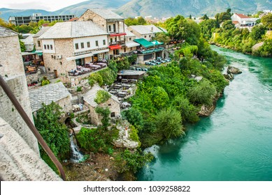 Old Bridge in Mostar, Bosnia and Herzegovina, the view from the bridge on the river Neretva