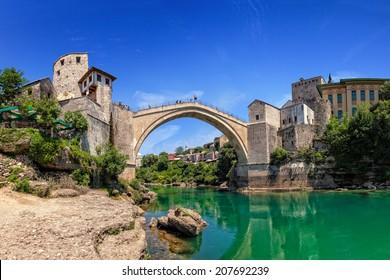 The Old Bridge in Mostar with emerald river Neretva. Bosnia and Herzegovina.