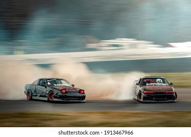 OLD BRIDGE, NJ - NOVEMBER 20, 2020: Club Loose drift event called Stuffed Moves - Blood brothers tandem drifting