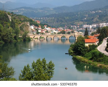 Old Bridge on Drina river in Visegrad - Bosnia and Herzegovina - architecture travel background