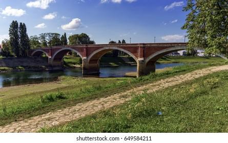 Old bridge over the Kupa river in Sisak, Croatia