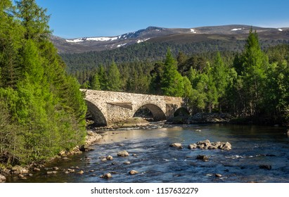 The old bridge over the river Dee at Invercauld near Braemar in the highlands of Scotland